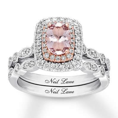 Neil Lane Morganite Bridal Set 3/4 ct tw Diamonds 14K Gold