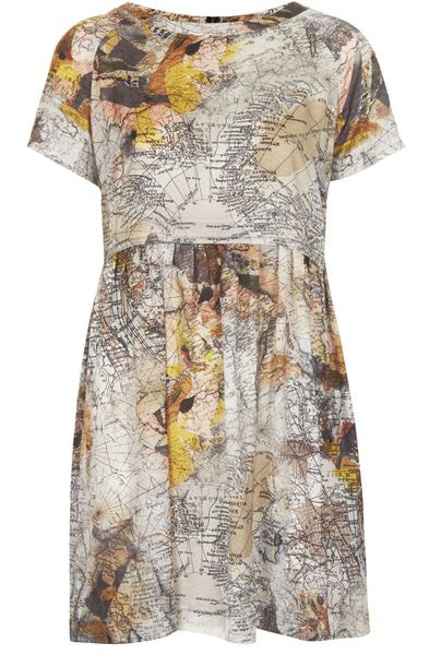 Topshop Map Print Tunic Dress in Multicolor (MULTI) - Lyst