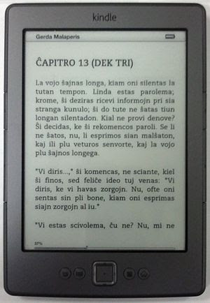 English: Latest Kindle (2011) showing Esperant...