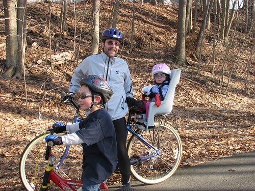 Dova in the bike carrier