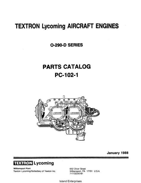 Lycoming Parts Catalog PC-102-1 for O-290-D series $13.95