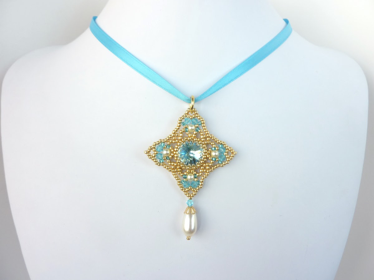 FREE beading pattern: Diamond Rivoli Pendant