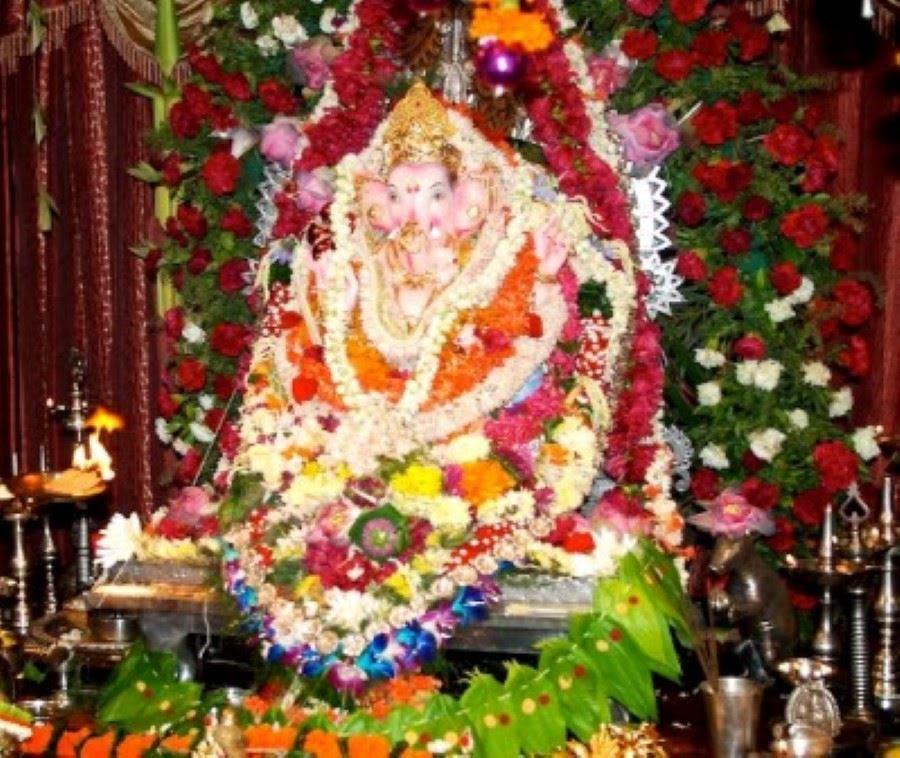 Flower Decoration  For Ganesh  Festival  At Home  ganpati