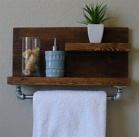 modern rustic  tier bathroom shelf   satin nickel