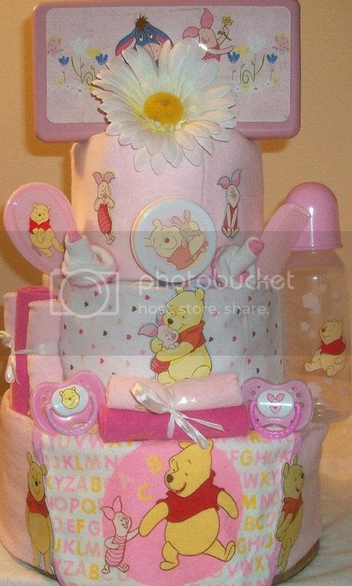 Pink Pooh Diaper Cake