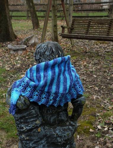 Silver sparkly sock yarn stripes hand dyed lace garter shawl scarf Appleby