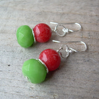 red green earrings