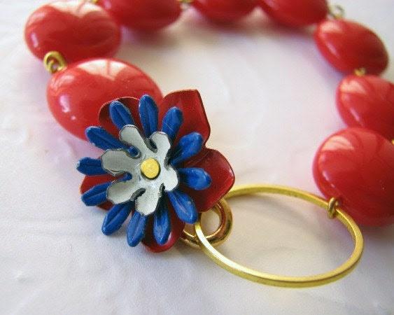 Red Floral Bracelet