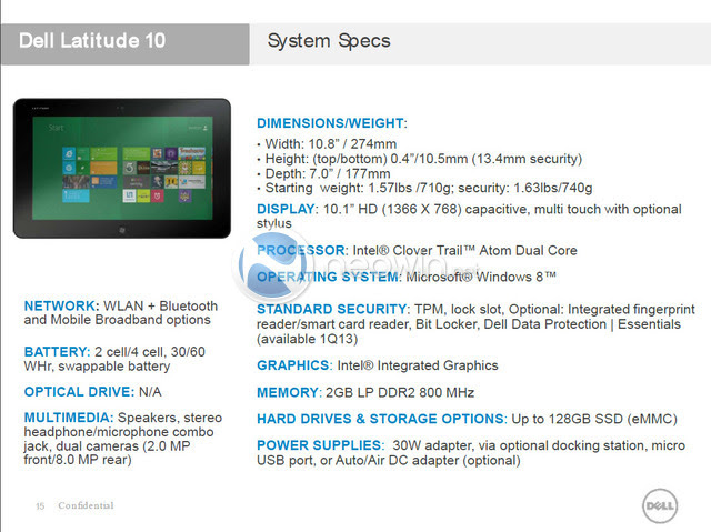 Dell Windows 8 Tablet Leak