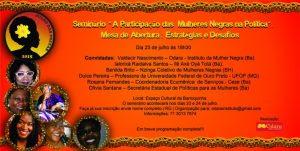 Julho das Pretas: Seminário debate a participação das mulheres negras na política
