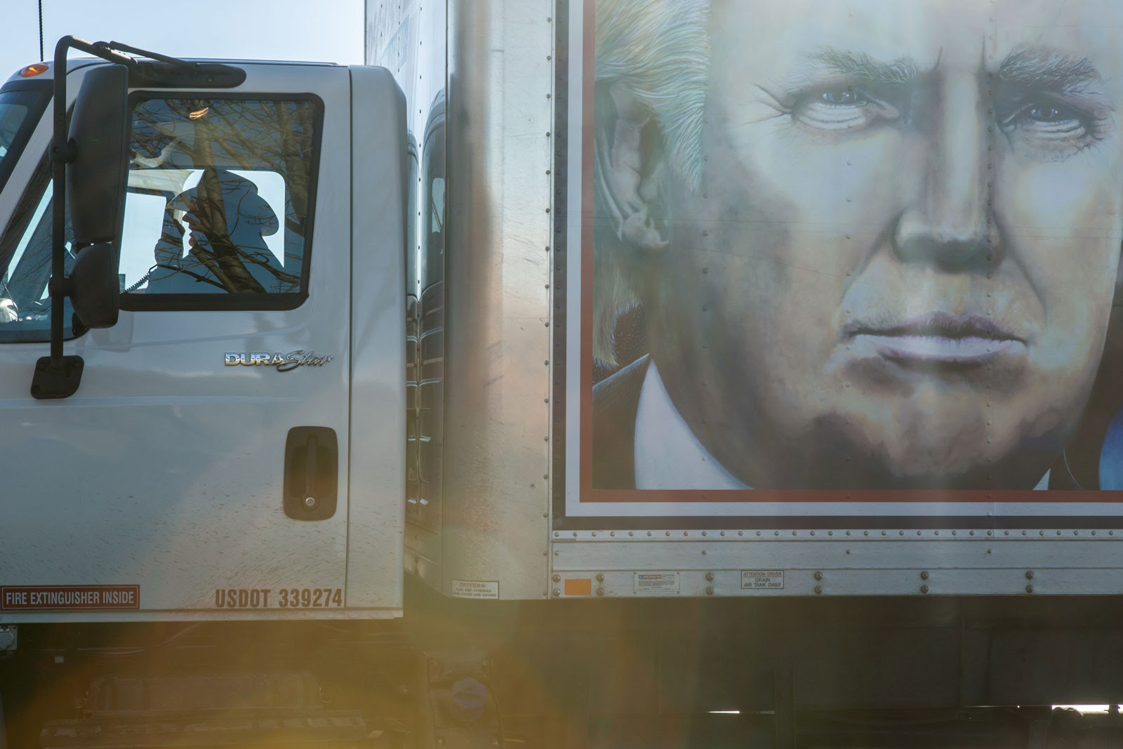 """Truckers for Trump"" convoy, Des Moines, Iowa, January 28, 2016"
