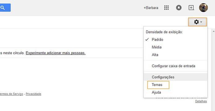 Acesse o recurso de temas no Gmail (Foto: Reprodução/Barbara Mannara)