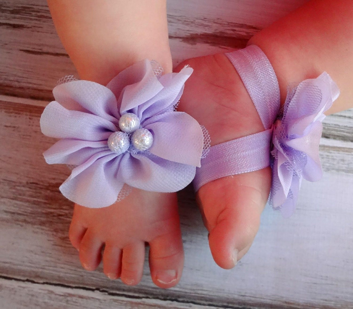 Lavender Baby Barefoot Sandals - Newborn Baby Barefoot Sandals - Newborn Clothing  - Baby Clothing Photography Prop - TheBloomingLilac2013