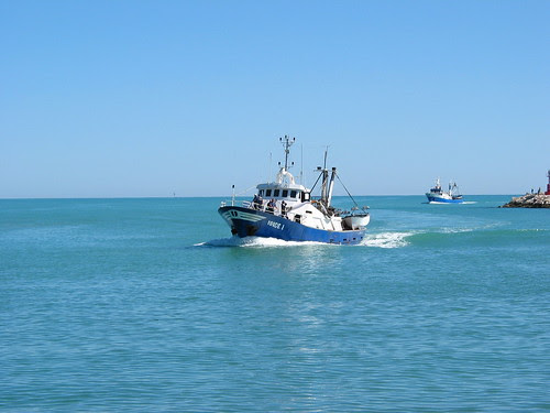 San Benedetto  Harbour entrence fisher boats coming in
