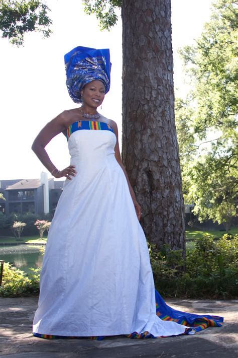 Wedding Dress with Kente Trims, and Gele Headpiece by