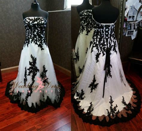 Discount Gorgeous Gothic Black And White Wedding Dresses