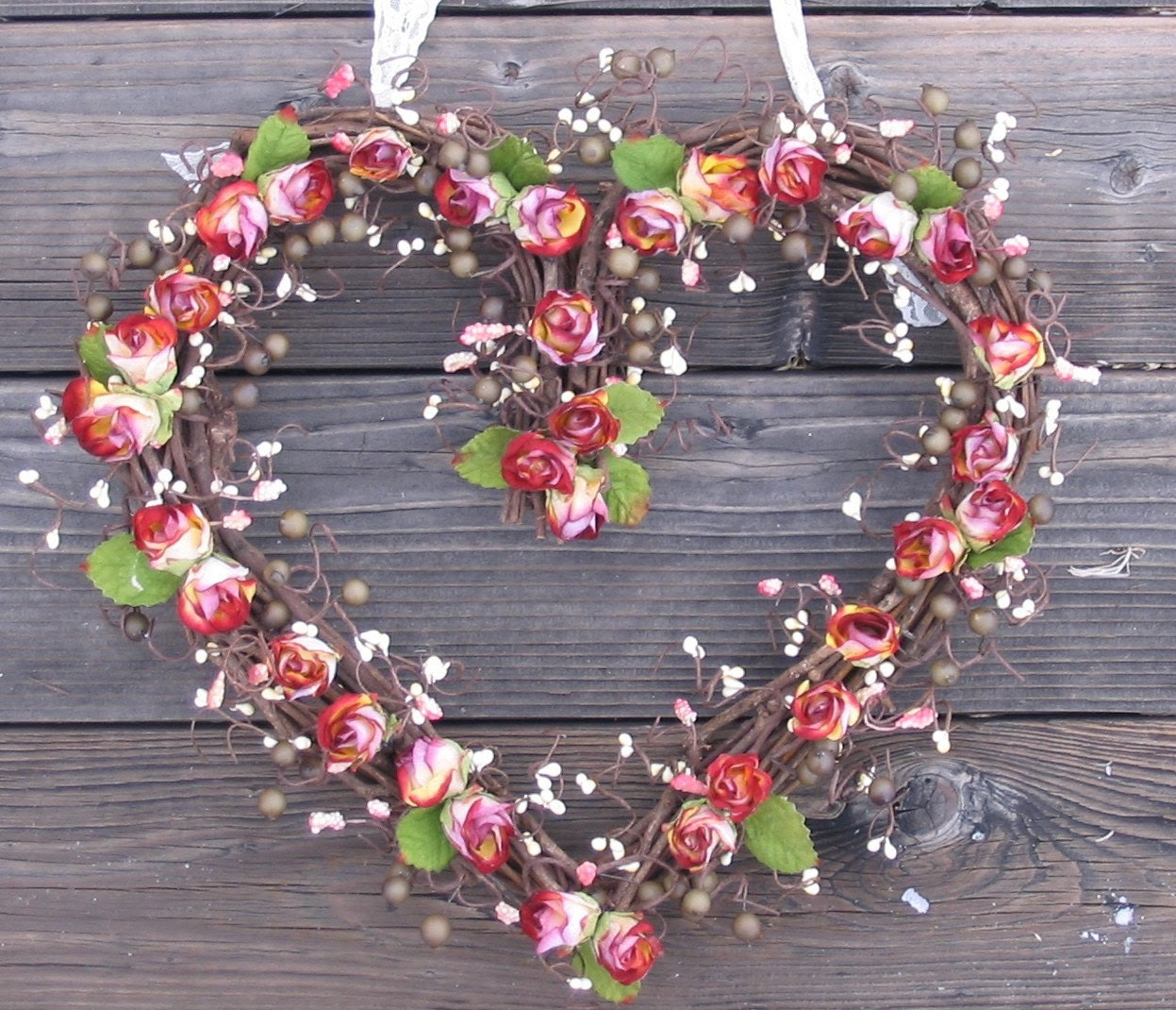 Heart Shaped Wreath - Mauve roses