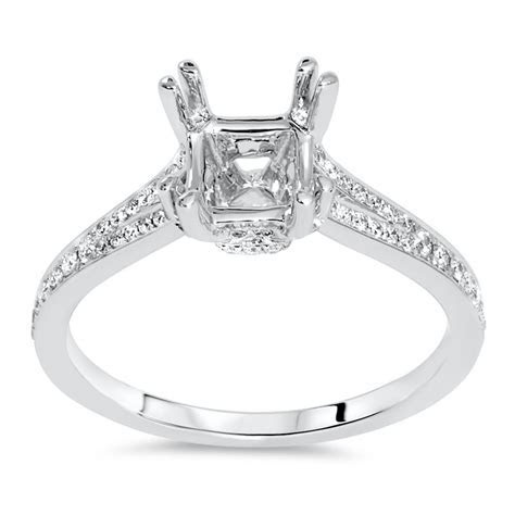 Pave Double Prong Engagement Ring for 1 ct Center Stone