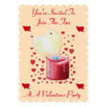 love heart shaped flame red candle valentines 5x7 paper invitation card