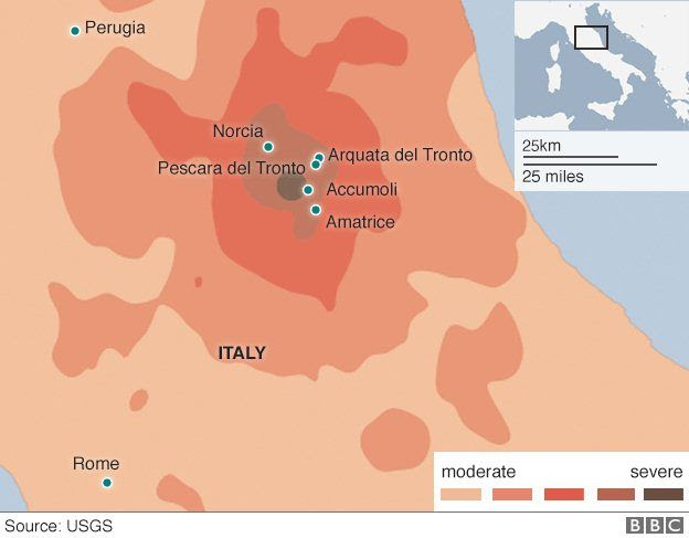 Map showing towns affected by the earthquake and their proximity to Perugia and Rome