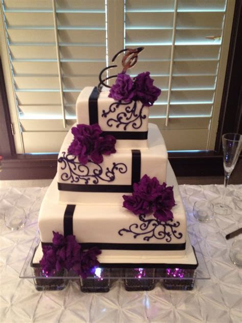 Purple and black wedding cake   Cakes by LaMeeka