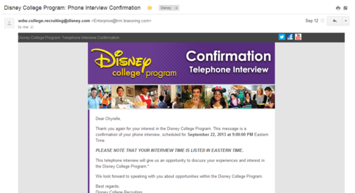 Disney College Program Telephone Confirmation email