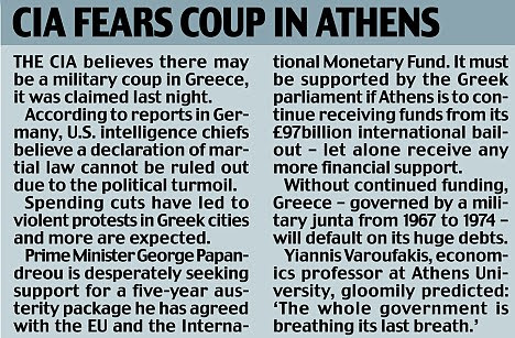 CIA fears a coup in Athens