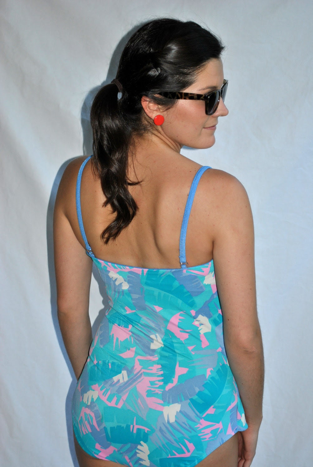 Vintage 1950s - 1960s Teal, Pink, White & Gray Swimsuit -- Vintage Swimsuit -- Vintage Bathing Suit -- Gifts for Her