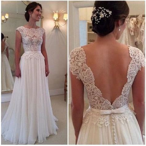 2015 Sexy Backless Wedding Dress Long Chiffon A Line Lace