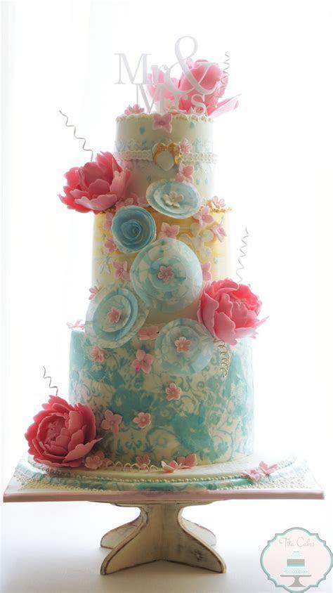 Whimsical Pastel Wedding Cake by Tita Cakes   Mon Cheri