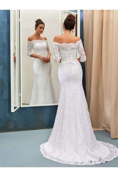 Mermaid 3/4 Length Sleeves Off the Shoulder Lace Wedding