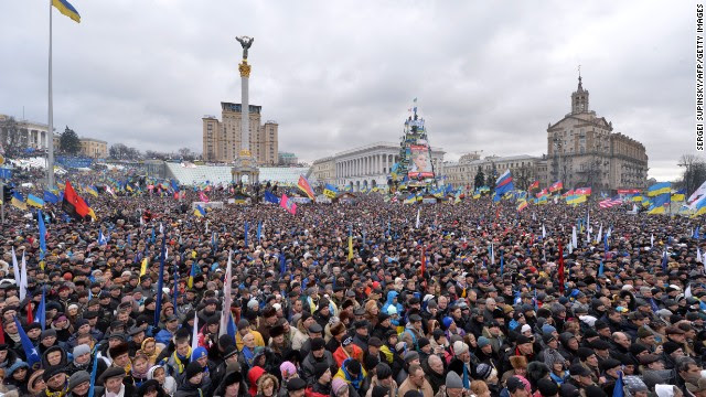 Thousands of protesters gather in Kiev's Independence Square on December 8.