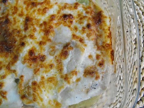 Filetes de pescada com queijo e maionese