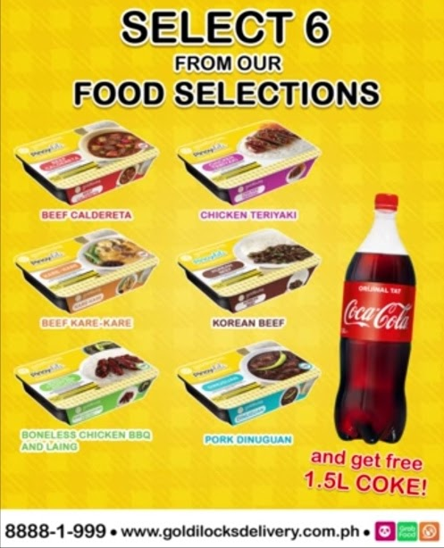 Goldilocks – Get a free 1.5 Liter Coke when you order any 6 of our Pinoydeli Food Selections packs