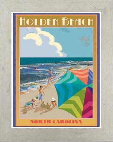 Kunstplakate Framed Art Deco Style Travel Poster By Aurelio Grisanty Nc Holden Beach Antiquitaten Kunst Kopfundkragen Eu