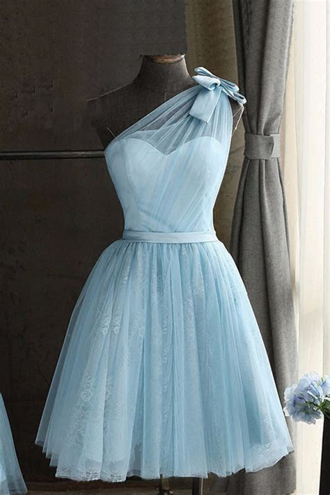 Baby blue tulle one shoulder short prom dress, bowknot