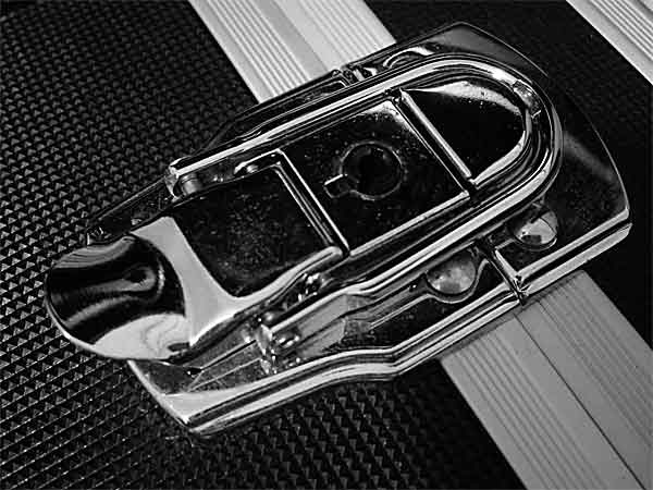 metal clasp on black carry case