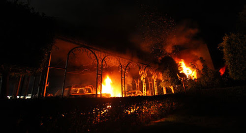 US consulate in Benghazi, Libya which was destroyed by people angry over the release of a film denigrating Islam. Demonstrations were also held in Egypt, Sudan and Tunisia. by Pan-African News Wire File Photos