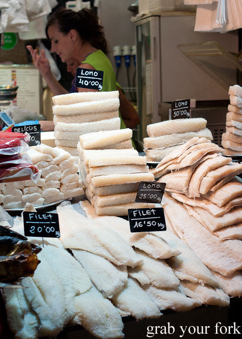 Bacalhau cod fillets at La Boqueria, Barcelona