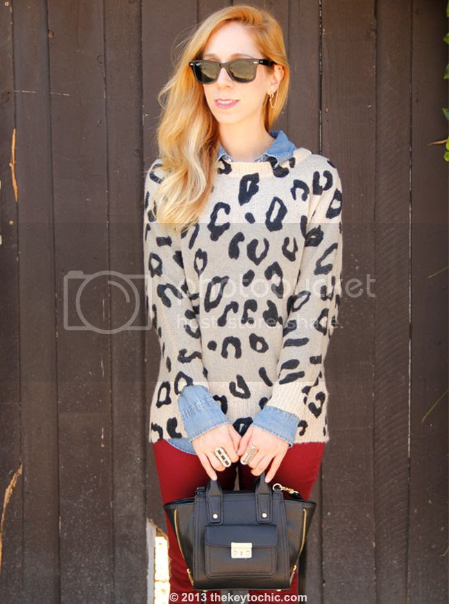 fall 2013 fashion trends at Charlotte Russe, Charlotte Russe leopard print sweater and burgundy skinny jeans, Phillip Lim for Target black mini satchel