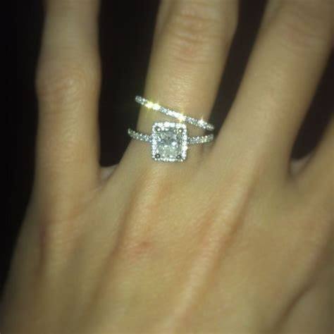 Cushion cut diamond engagement ring with halo & matching
