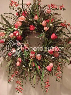 Twig wreath with tulips