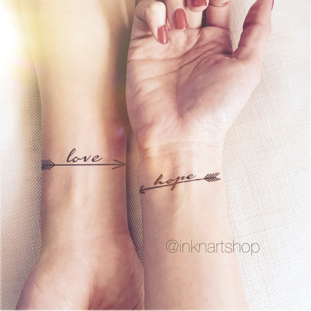 2pcs Love Hope Pair Arrows Set Inknart Temporary Tattoo Wrist