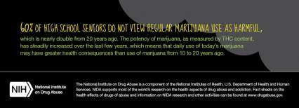 60% of high school seniors do not view regular marijuana use as harmful, which is nearly double from 20 years ago.