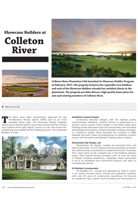 Hilton Head Magazines Ch2cb2 Showcase Builders At Colleton River