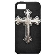 Metallic Crucifix on black leather iPhone 5 Case
