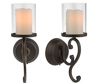 CandleImpressio Set of 2 Flameless Wall Sconces with Timer — QVC.