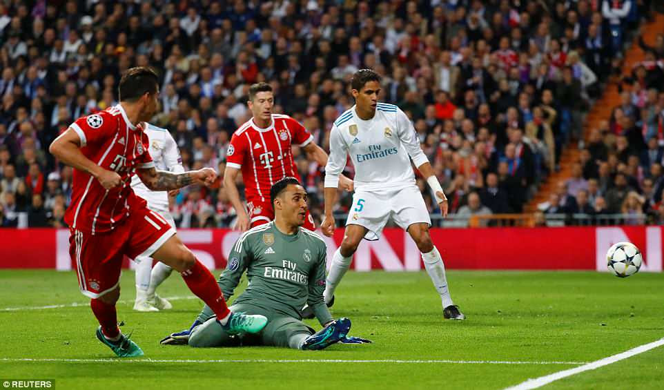 Rodriguez, on loan from Real Madrid at Bayern Munich, fires past goalkeeper Keylor Navas to make it 2-2 on the night
