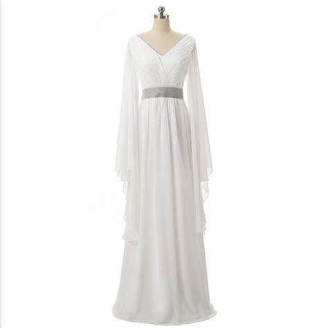 VanMe White Evening Dresses 2017 Loose Long Sleeves