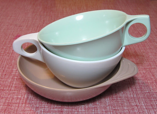 melmac cups and saucer